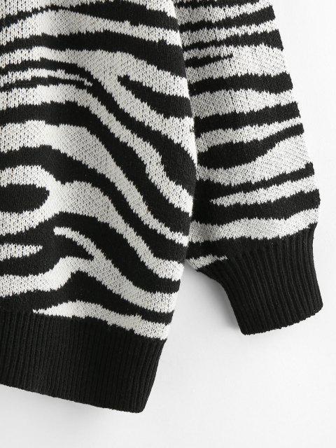 ZAFUL Zebradruck Fallschulter Loses Strickjacke - Schwarz S Mobile