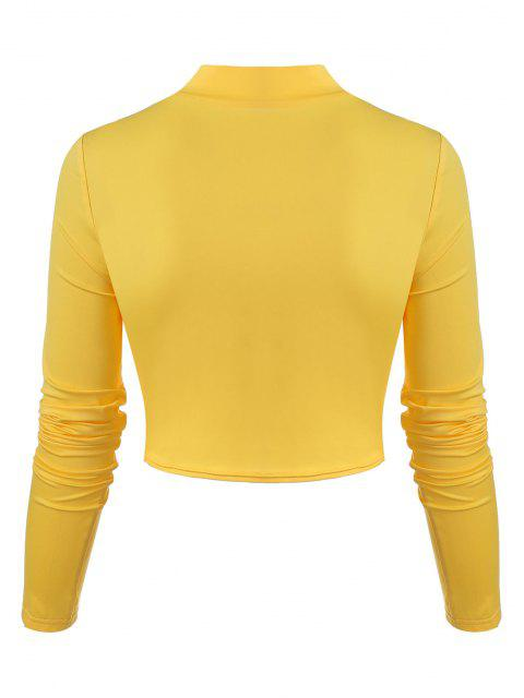 ladies Twisted Hollow Out Crop T-shirt - YELLOW L Mobile