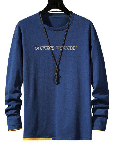 T-Shirt a Contrasto con Maniche Lunghe - Blu 2XL Mobile