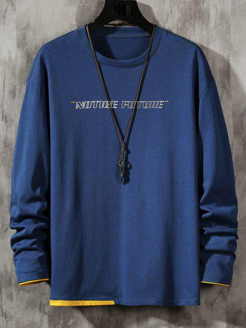 buy Notice Future Contrast Hem Long Sleeve T-shirt - BLUE S Mobile