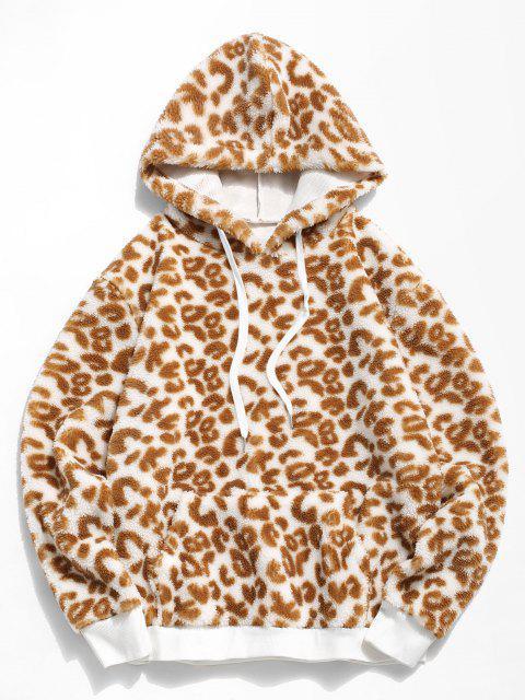 best Leopard Pattern Faux Fur Teddy Hoodie - LIGHT COFFEE M Mobile