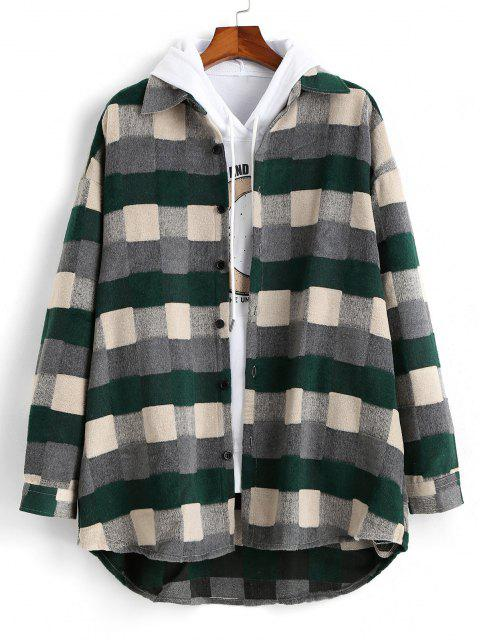 Plaid Patch Wool Shirt Jacket - أخضر M Mobile