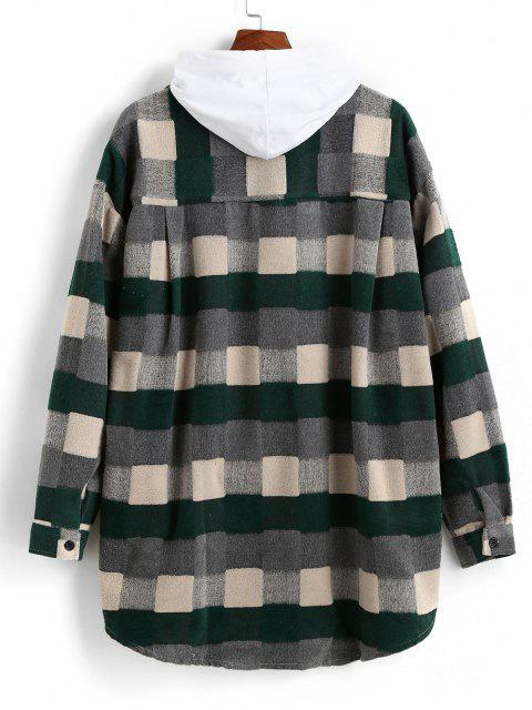 women Plaid Patch Wool Shirt Jacket - GREEN XL Mobile