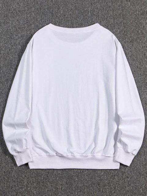 lady Letter Dragon Print Oriental Sweatshirt - WHITE 2XL Mobile