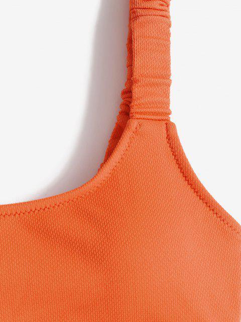 ZAFUL Costume da Bagno Bikini Serbatoio Ritaglio Strappy - Arancio S Mobile