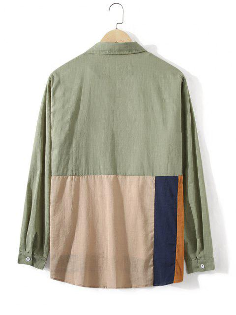 fancy Button Down Colorblock Front Pocket Shirt - DARK SEA GREEN L Mobile