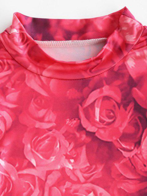 online Tie Dye Flower Long Sleeve Bodycon Dress - LIGHT PINK M Mobile