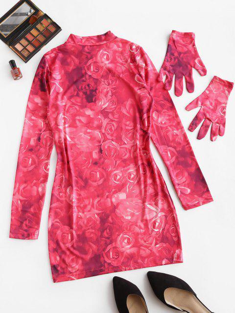 new Tie Dye Flower Long Sleeve Bodycon Dress - LIGHT PINK S Mobile