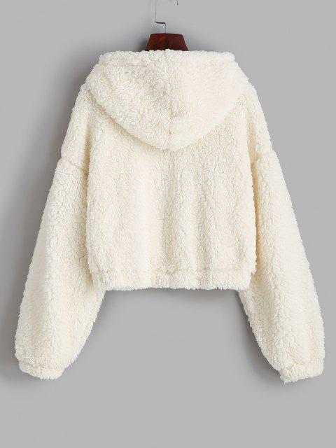 ZAFUL Hooded Drop Shoulder Pocket Teddy Coat - أبيض S Mobile