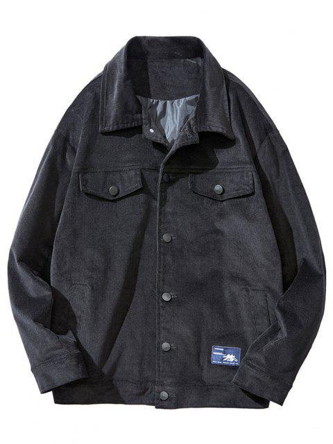 sale Flap Mock Pocket Button Up Corduroy Jacket - BLACK S Mobile