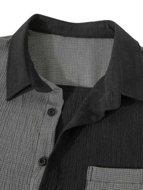 affordable Front Pocket Two Tone Wrinkle Shirt - BLACK 2XL Mobile