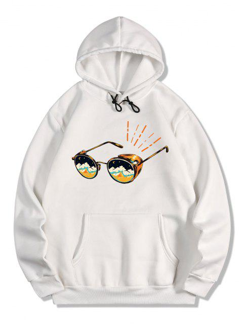 Sweat à Capuche Lunettes de Soleil Imprimé avec Poche Kangourou en Laine - Blanc 2XL Mobile