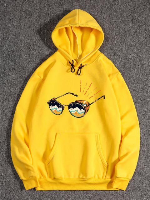 women's Sunglasses Print Kangaroo Pocket Fleece Hoodie - YELLOW XL Mobile