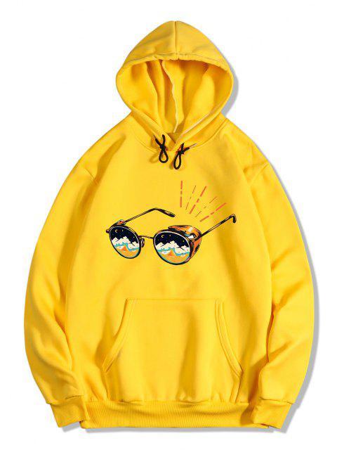lady Sunglasses Print Kangaroo Pocket Fleece Hoodie - YELLOW S Mobile