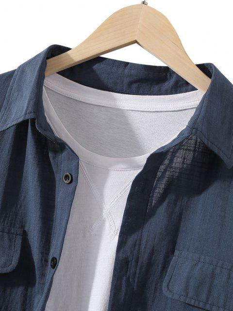 hot Two Tone Bicolor Contrast Button Up Shirt - DARK SLATE BLUE 2XL Mobile