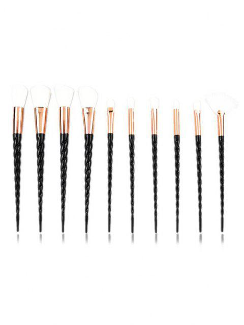 affordable 10Pcs Twist Handle Makeup Brush Set - BLACK  Mobile
