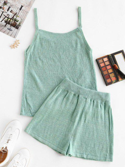 shops Knitted Cami Two Piece Shorts Set - LIGHT GREEN M Mobile