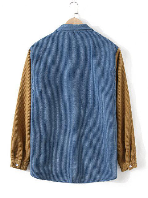 コーデュロイポケット二つのトーンシャツ - シルクブルー 3XL Mobile