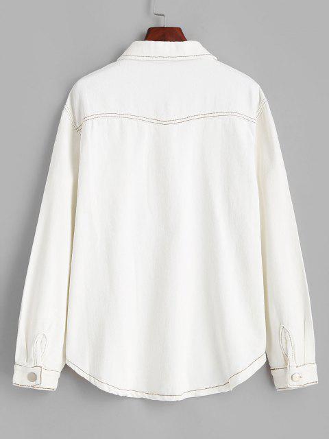 Jaqueta com Rebites em Contraste - Branco M Mobile