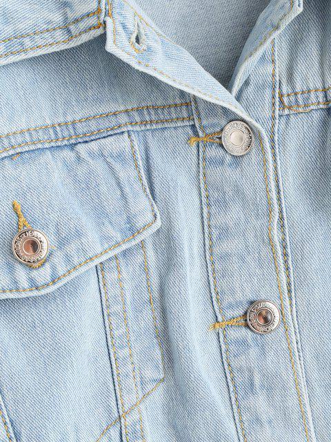 unique Drop Shoulder Pocket Peplum Denim Jacket - LIGHT BLUE XS Mobile