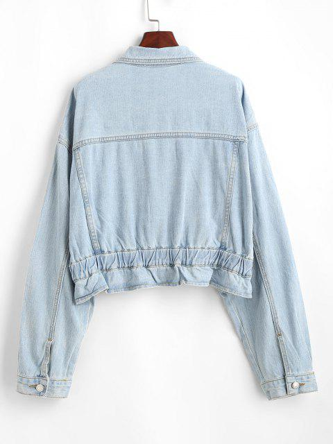 best Drop Shoulder Pocket Peplum Denim Jacket - LIGHT BLUE M Mobile
