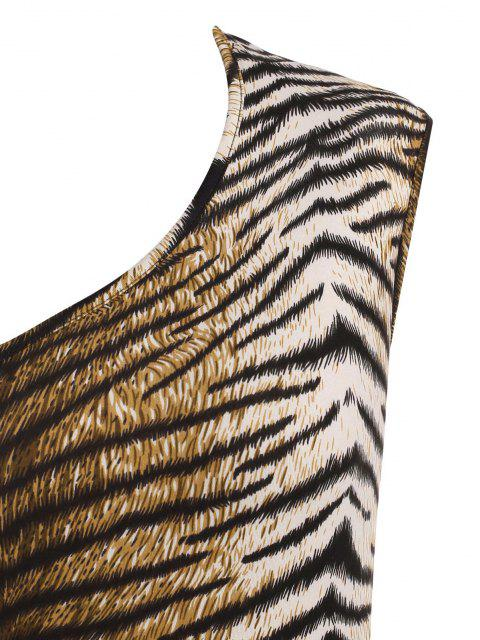 women's Tiger Print Open Back Bodysuit - COFFEE M Mobile