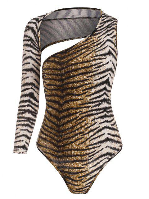 affordable Tiger Print Open Back Bodysuit - COFFEE L Mobile