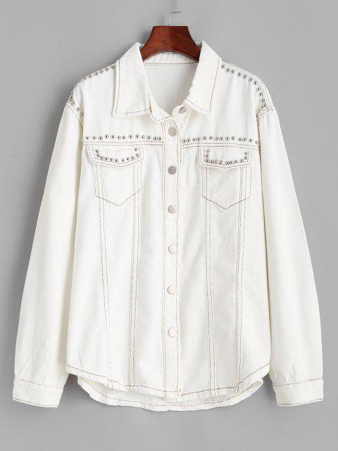 Veste Contrastée Cousue Rivet avec Poche en Denim - Blanc L Mobile