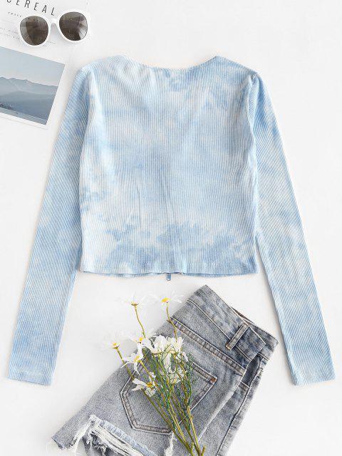 Tee com Nervuras e Tie Up - Azul M Mobile