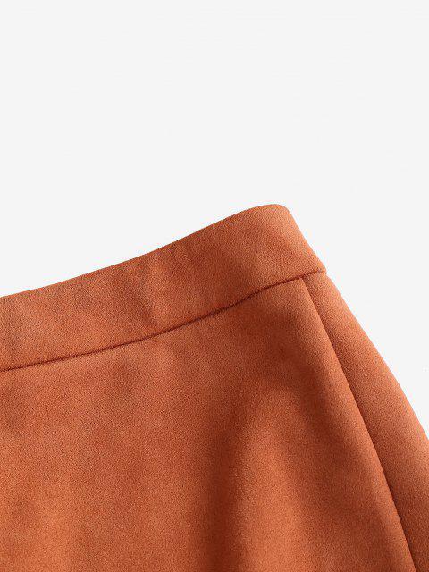 fashion Faux Suede Bodycon Mini Skirt - TIGER ORANGE L Mobile
