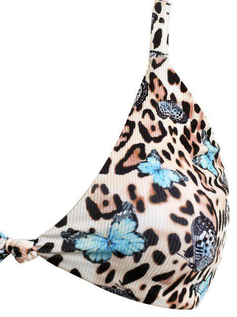 womens ZAFUL Plus Size Ribbed Leopard Butterfly Ruched Bikini Swimwear - MULTI XXXL Mobile