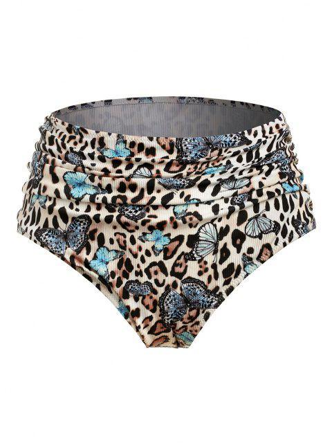 ZAFUL Bas de Bikini Côtelé PapillonLéopardde Grande Taille à Volants - Multi XXXL Mobile