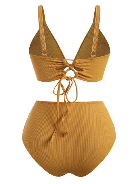 ZAFUL Verknotete Übergröße Bikini Badebekleidung mit Gerippten Rüschen - Dunkel gelb XL Mobile