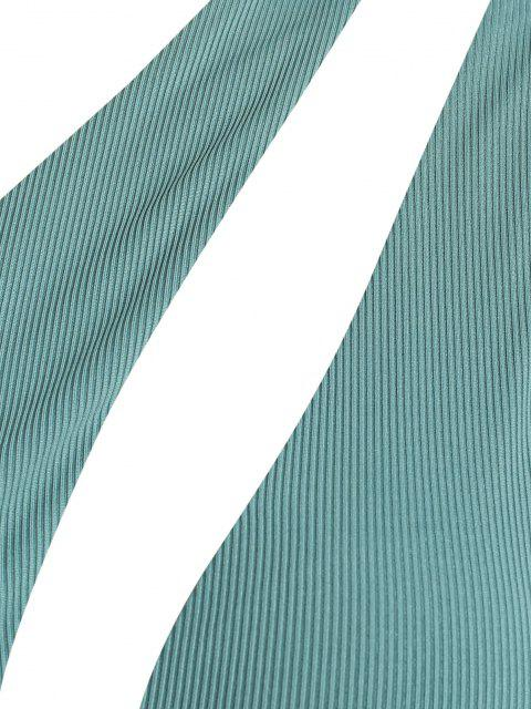 sale ZAFUL Plus Size Ribbed One Shoulder Bikini Top - GREEN XL Mobile