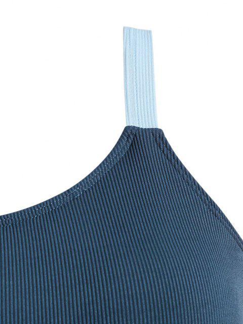 ZAFUL Maillot de Bain Tankini Côtelé à Ourlet Contrasté de Grande Taille - Bleu profond XXXL Mobile