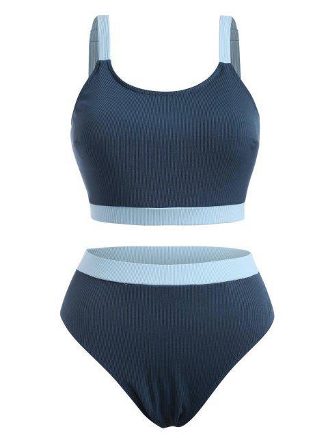 outfits ZAFUL Plus Size Contrast Trim Ribbed Tankini Swimwear - DEEP BLUE XXXXL Mobile