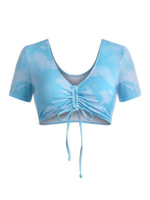 women ZAFUL Plus Size Ribbed Tie Dye Cinched Swim Top - MULTI XL Mobile