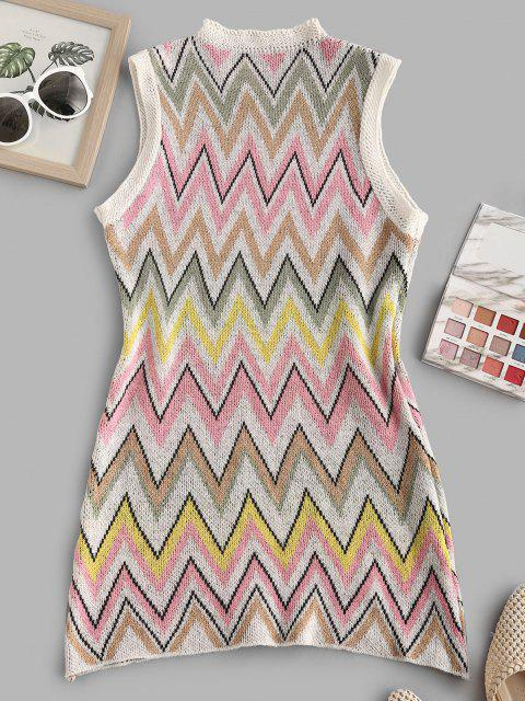online Zigzag Tunic Sweater Tank Dress - MULTI L Mobile