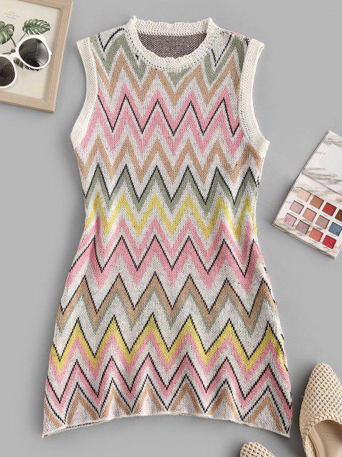 shop Zigzag Tunic Sweater Tank Dress - MULTI M Mobile