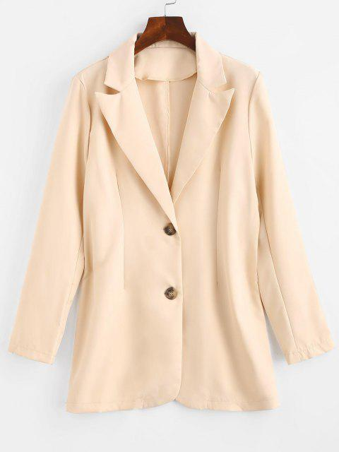 fashion Solid Longline Blazer - LIGHT COFFEE L Mobile