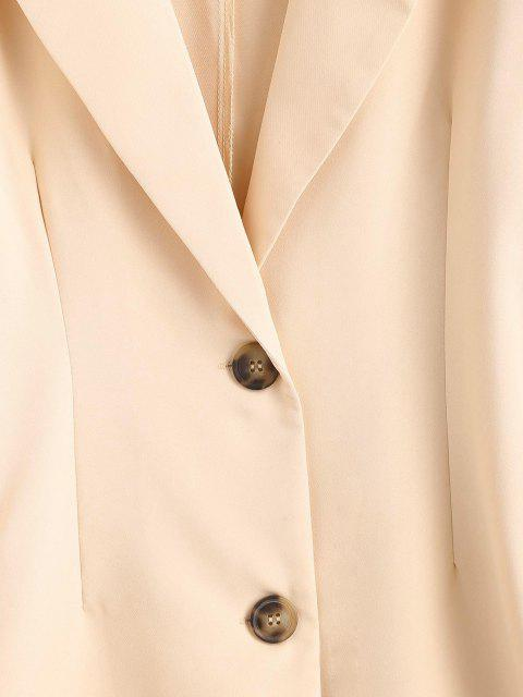affordable Solid Longline Blazer - LIGHT COFFEE M Mobile