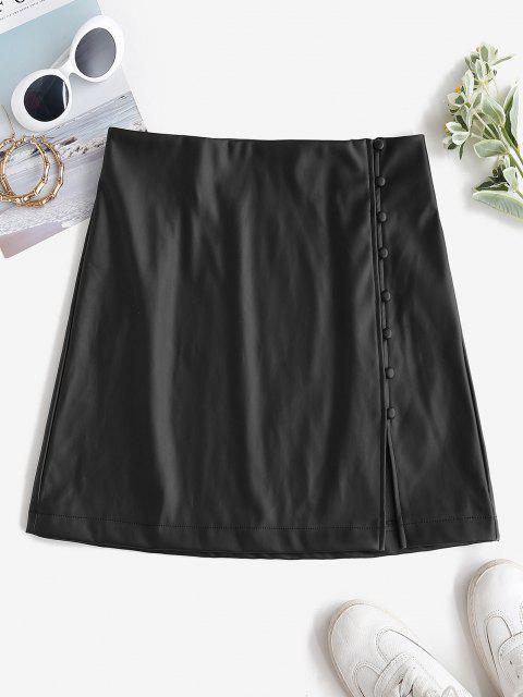 chic ZAFUL Faux Leather Loop Button Mini Skirt - BLACK L Mobile