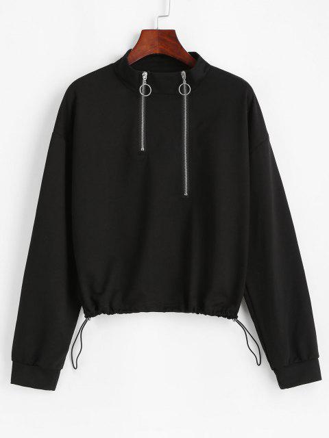 chic Zippered Front Toggle Drawstring Hem Sweatshirt - BLACK ONE SIZE Mobile