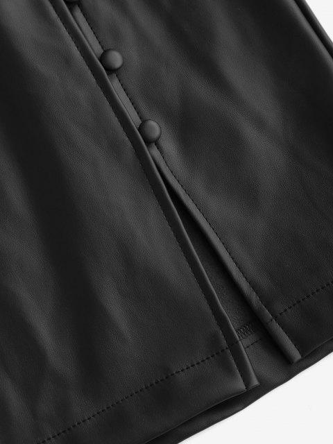 womens ZAFUL Faux Leather Loop Button Mini Skirt - BLACK M Mobile