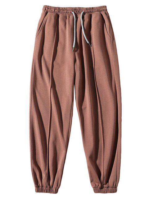 outfit Solid Elastic Waist Sport Jogger Sweatpants - LIGHT COFFEE L Mobile