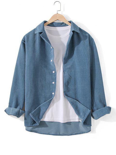 リブ付きコールドショルダーボタンフロントチュニックシャツ - シルクブルー XL Mobile