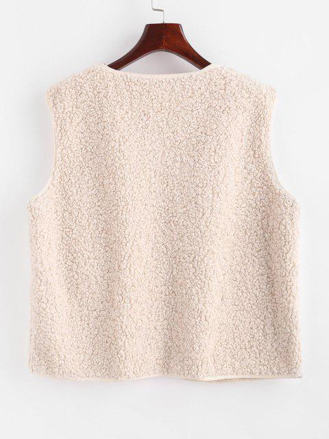 fashion Faux Sheepskin Lined Snap Button Teddy Waistcoat - WHITE M Mobile