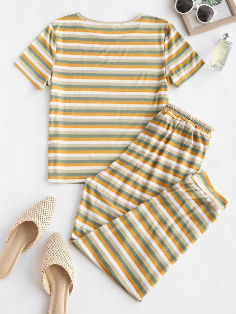 buy Striped Short Sleeve Pocket Tie PJ Set - MULTI XL Mobile