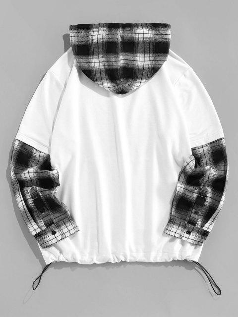 shops ZAFUL Look Me Rose Plaid Faux Twinset Hoodie - BLACK S Mobile
