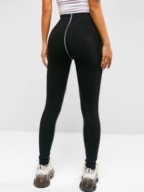 women's ZAFUL Ribbed Topstitching Leggings - BLACK S Mobile